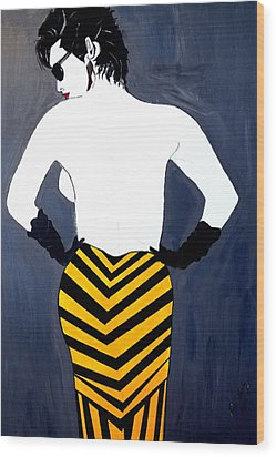 Wood Print featuring the painting Lady In Stripes by Nora Shepley