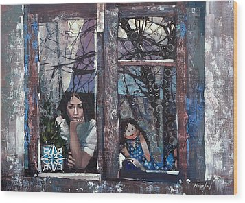 Wood Print featuring the painting lady Winter by Anastasija Kraineva