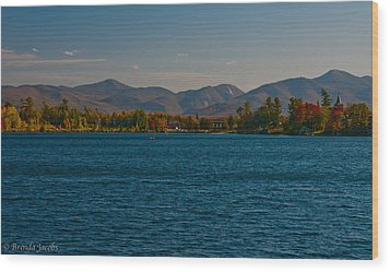 Lake Placid And The Adirondack Mountain Range Wood Print