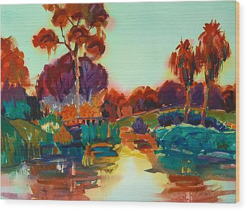 Lakeside Glow Wood Print by Roger Parent