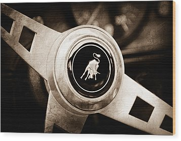Lamborghini Steering Wheel Emblem Wood Print by Jill Reger