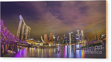 Landscaoe Of Singapore Business District  Wood Print