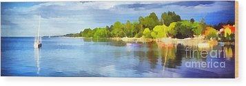Landscape Of The Balaton Lake Wood Print by Odon Czintos