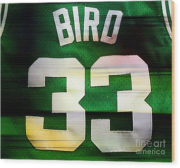 Larry Bird Wood Print by Marvin Blaine