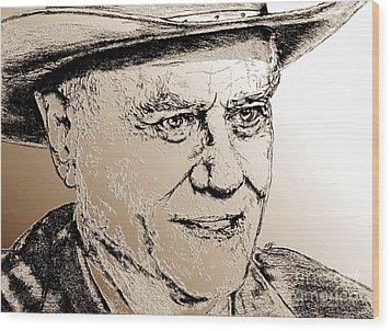 Larry Hagman In 2011 Wood Print by J McCombie