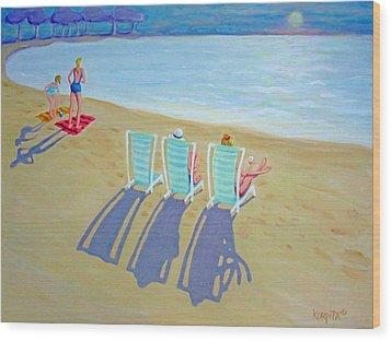 Sunset On Beach - Last Rays Wood Print