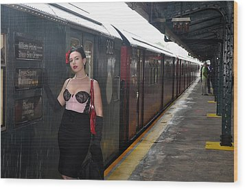 Last Train To Shea Wood Print by Jim Poulos