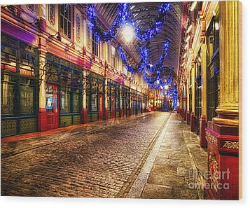 Leadenhall Christmas Lights Wood Print by Jack Torcello