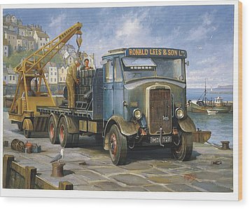 Leyland Hippo At Brixham. Wood Print by Mike  Jeffries
