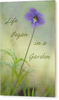 Life Began In A Garden Wood Print by Patricia Montgomery