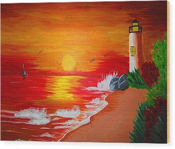 Lighthouse Wood Print by Haleema Nuredeen