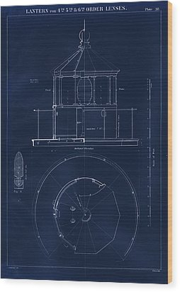 Lighthouse Lantern Drawing Wood Print by Jerry McElroy