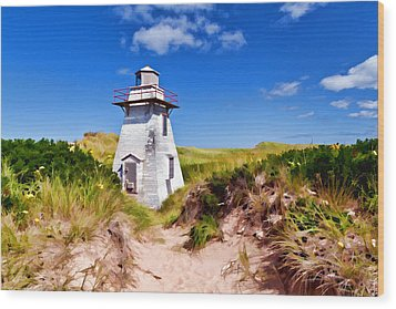 Lighthouse On The Dunes Wood Print by Dan Dooley