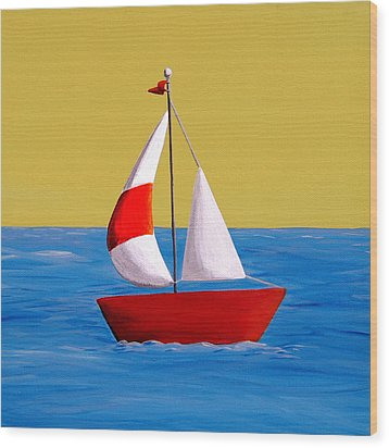 Lil Sailboat Wood Print by Cindy Thornton