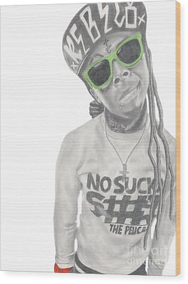 Lil Wayne Wood Print by Michael Durocher