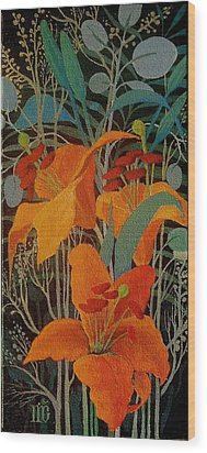 Wood Print featuring the painting Lilies by Marina Gnetetsky