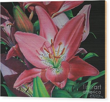 Lily's Garden Wood Print by Pamela Clements
