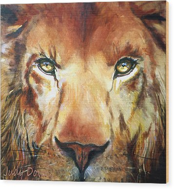 Lion Eyes Wood Print by Judy Downs