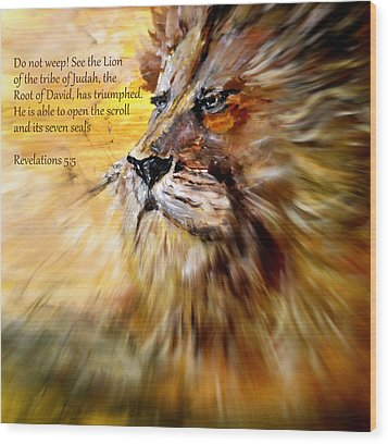 Lion Of Judah Courage Wood Print