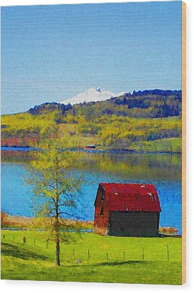 Little Barn By The Lake Wood Print by Lenore Senior and Constance Widen
