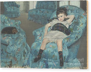 Little Girl In A Blue Armchair Wood Print by Celestial Images