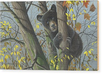 Wood Print featuring the painting Little Mischief by Mike Brown