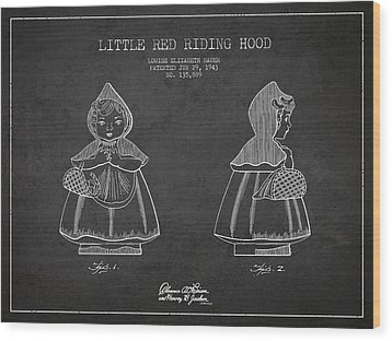 Little Red Riding Hood Patent Drawing From 1943 Wood Print by Aged Pixel