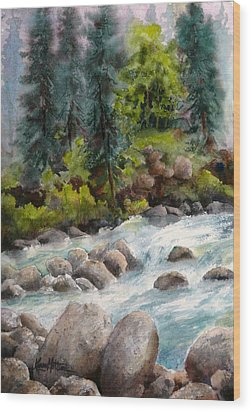 Little Susitna River Rocks Wood Print