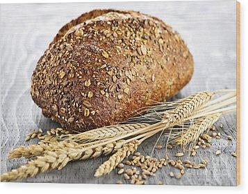 Loaf Of Multigrain Bread Wood Print by Elena Elisseeva
