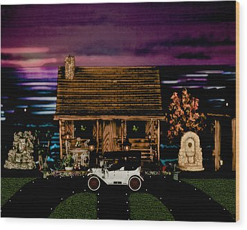 Log Cabin Scene At Sunset With The Old Vintage Classic 1913 Buick Model 25 Wood Print by Leslie Crotty