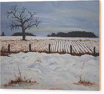 Lone Tree In Winter Wood Print by Monica Veraguth