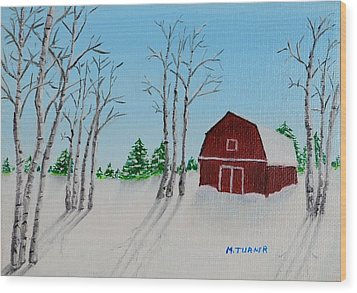 Wood Print featuring the painting Lonely Barn by Melvin Turner