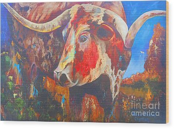 Wood Print featuring the painting Longhorn Bull Business by Karen Kennedy Chatham