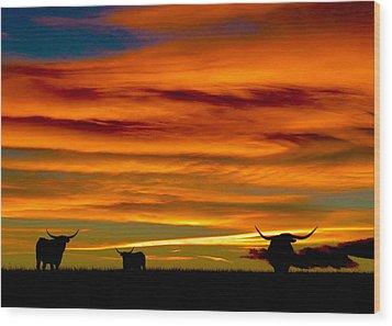 Longhorn Sunset Wood Print