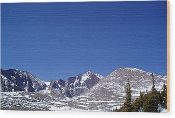Longs Peak And Blue Sky Wood Print