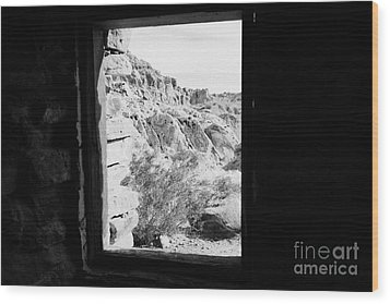 Looking Out Through Window From Interior Of Historic Stone Cabin Built By The Civilian Conservation  Wood Print by Joe Fox