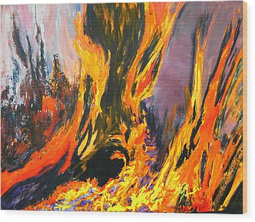 Wood Print featuring the painting Looks Like Hell by AnnE Dentler