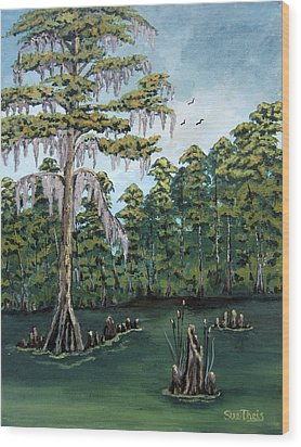 Wood Print featuring the painting Louisiana Cypress by Suzanne Theis
