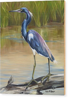 Louisiana Heron Wood Print by Phyllis Beiser