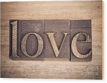 Love In Printing Blocks Wood Print by Jane Rix