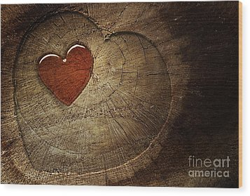 Love Text On  Wooden Background Wood Print by Mythja  Photography