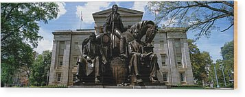 Low Angle View Of Statue Wood Print by Panoramic Images