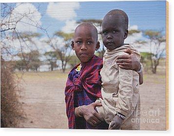 Maasai Children Portrait In Tanzania Wood Print by Michal Bednarek
