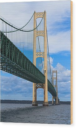 Mackinac Bridge Wood Print by Cindy Lindow