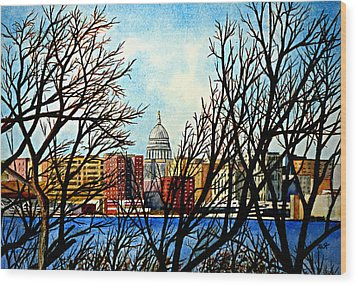 Madison Treed Wood Print by Thomas Kuchenbecker