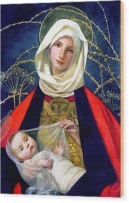 Madonna And Child Wood Print by Marianne Stokes