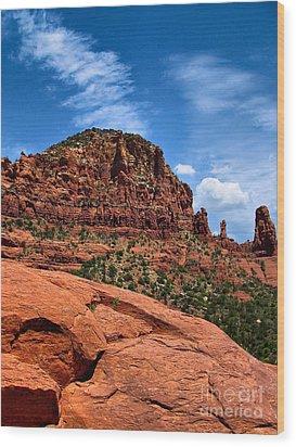 Madonna And Child Two Nuns Rock Formations Sedona Arizona Wood Print by Amy Cicconi