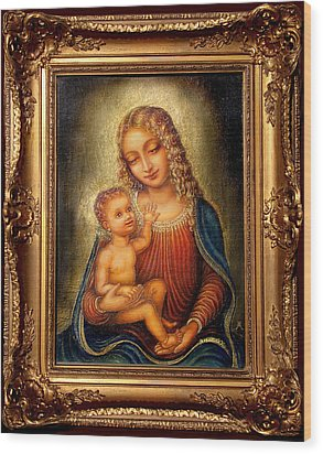 Wood Print featuring the painting Madonna Beata by Ananda Vdovic