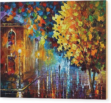 Magic Rain Wood Print by Leonid Afremov