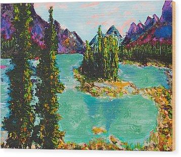 Maligne Lake Jasper Alberta Mountain Wood Print by Joyce Sherwin